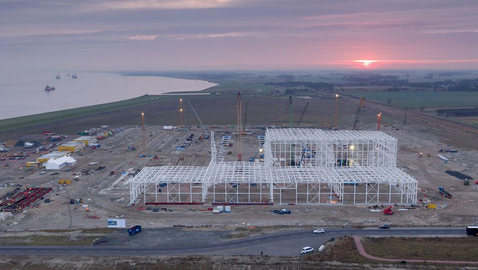 Die Stahlstützen für die Produktionshalle der neuen Offshore-Fabrik in Cuxhaven mit einer Nutzfläche von 56.000 Quadratmetern.