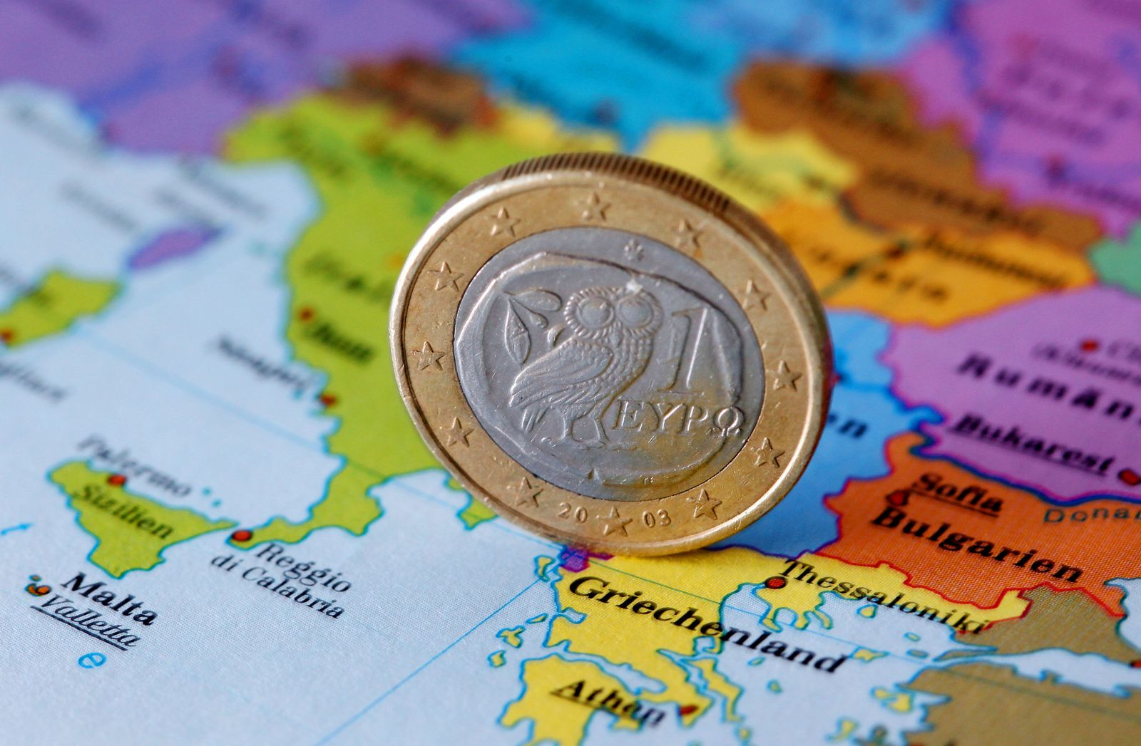 Landkarte Griechenland / Euromünze