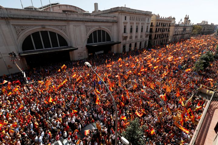 Demonstrationszug in Barcelona