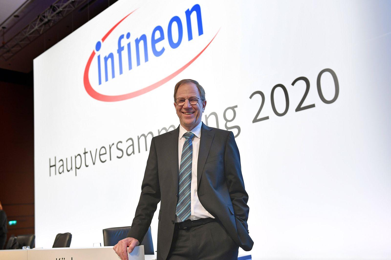 Dr. Reinhard Ploss (Vorsitzender des Vorstands), Einzelbild,angeschnittenes Einzelmotiv,Halbfigur,halbe Figur, vor Logo