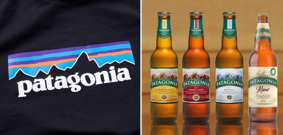 Copycat-Streit: Logo der Outdoor-Marke Patagonia gegenüber Flaschen der gleichnamigen Biermarke