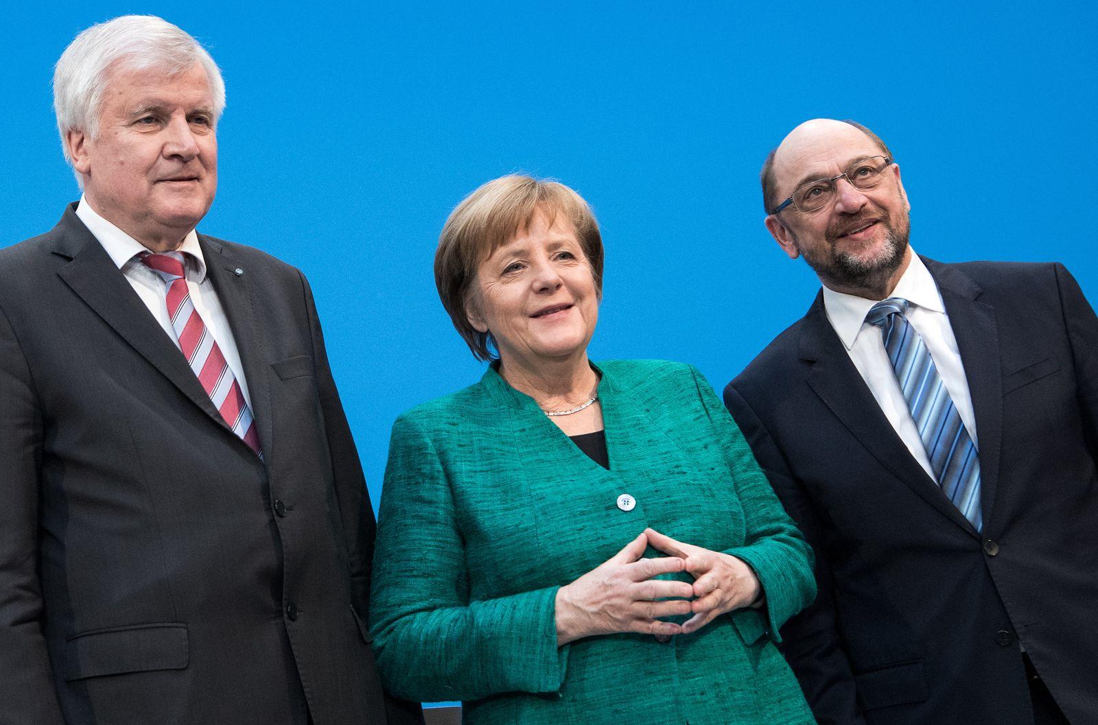Koalitionsverhandlungen / Merkel / Seehofer / Schulz