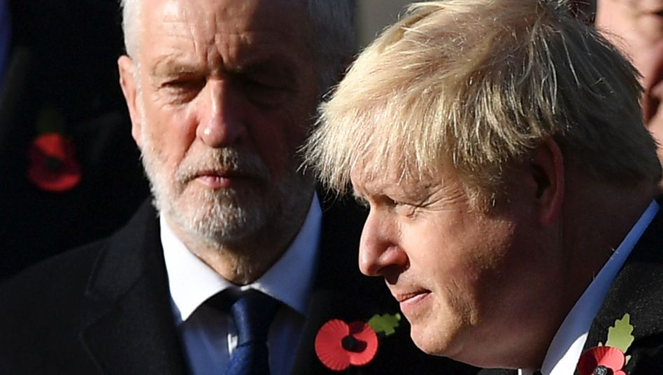 Boris Johnson (rechts), Labour-Chef Jeremy Corbyn: Der Rückzieher der Brexit-Partei hilft Johnsons Tories