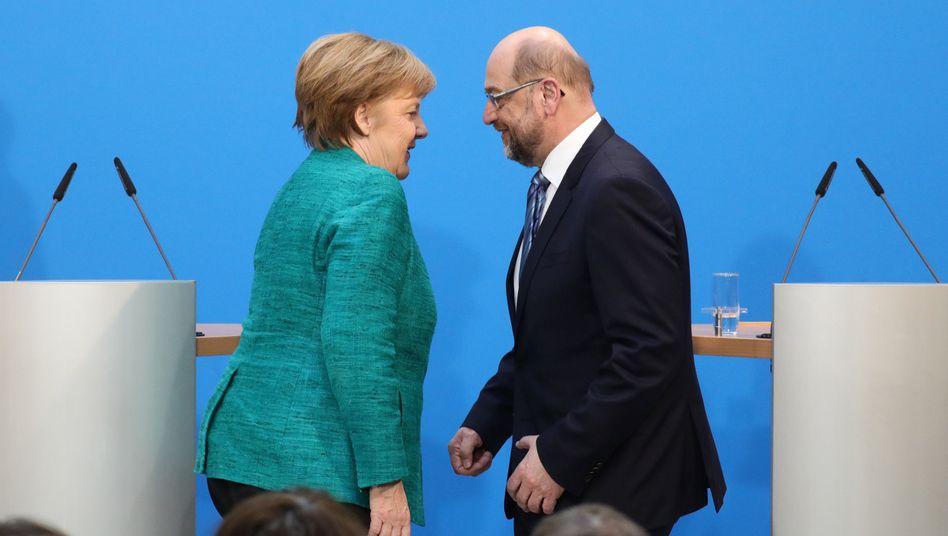 Merkel, Schulz: Viel Luft für die Groko