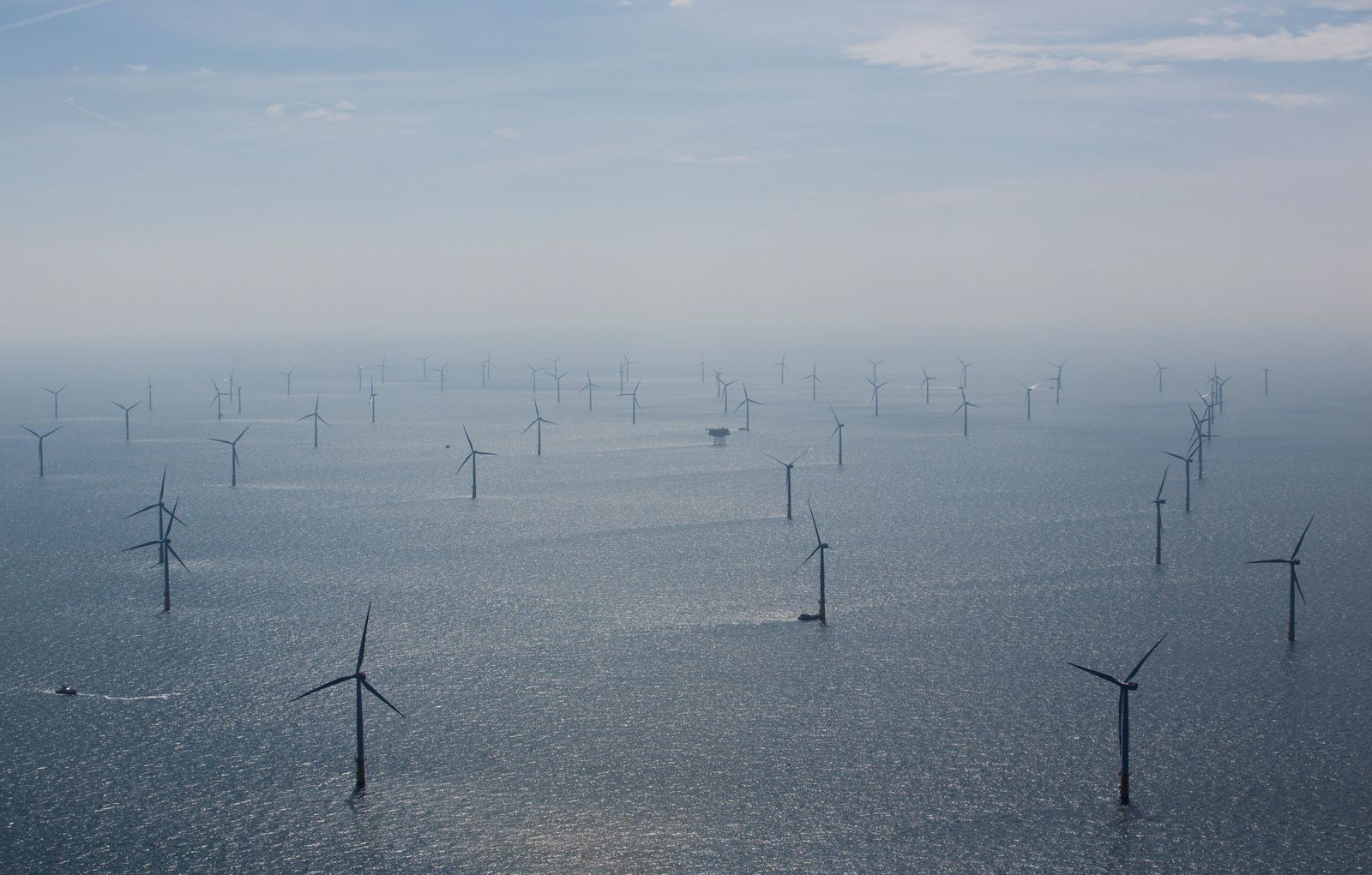 FILE PHOTO: Wind turbines are pictured in RWE Offshore-Windpark Nordsee Ost in the North sea, 30 km from Helgoland