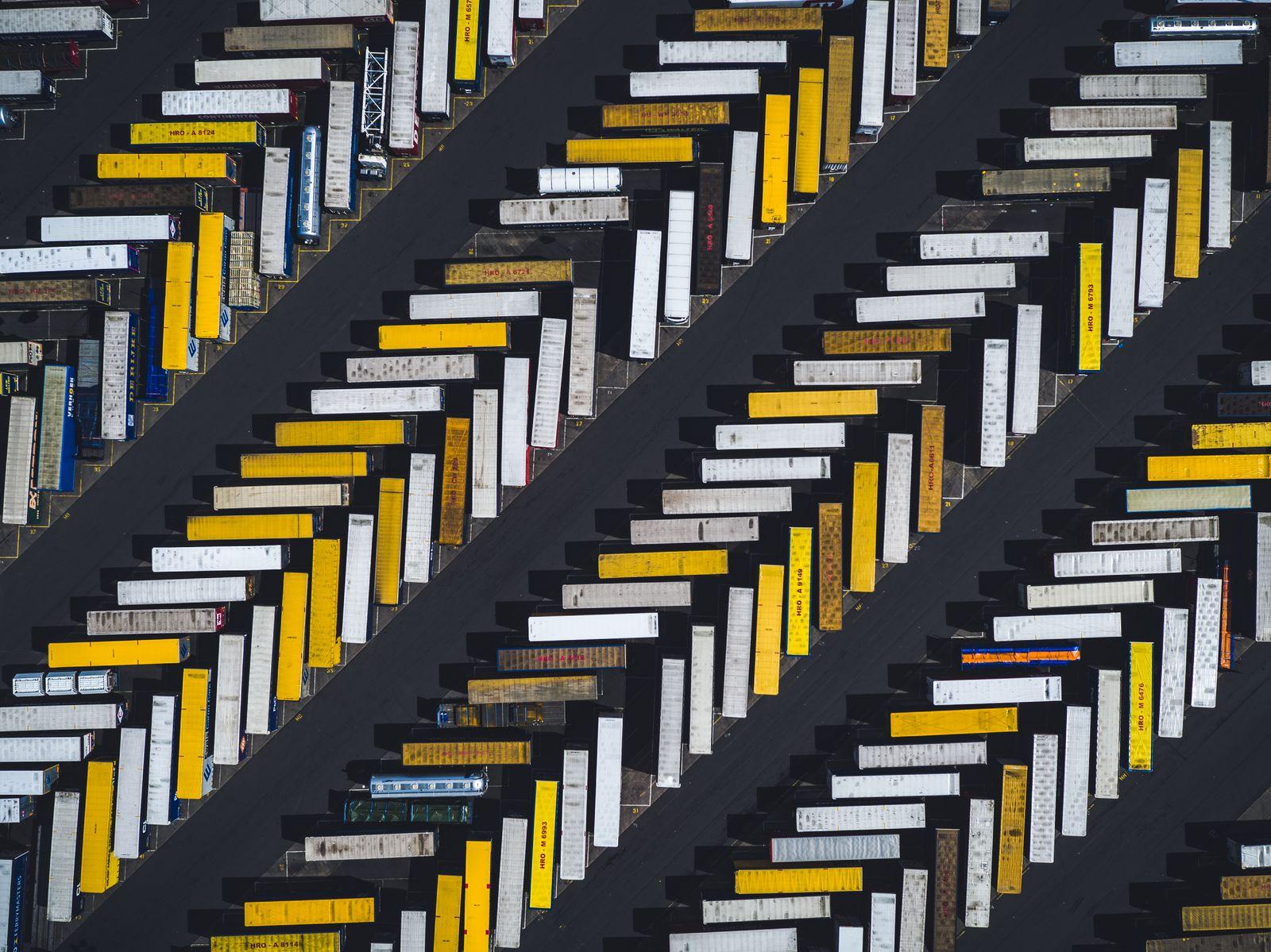 Aerial shot of parked trucks, Scunthorpe, United Kingdom