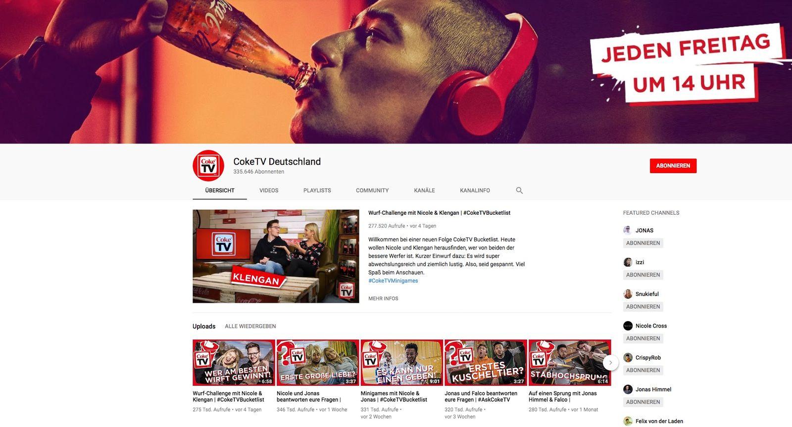 EINMALIGE VERWENDUNG CokeTV Deutschland