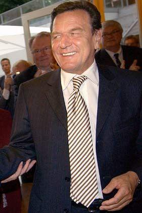 Es geht aufwärts - zumindest den Streifen nach: Bundeskanzler Gerhard Schröder