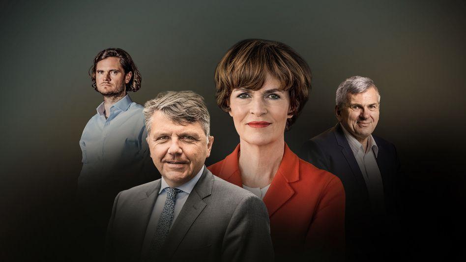 """""""Wenn ich die dunklen Büros sehe, dann ist das schon gruselig"""": Jörg Gerbig, Stephan Sturm, Nicola Leibinger-Kammüller, Jörg Hofmann."""