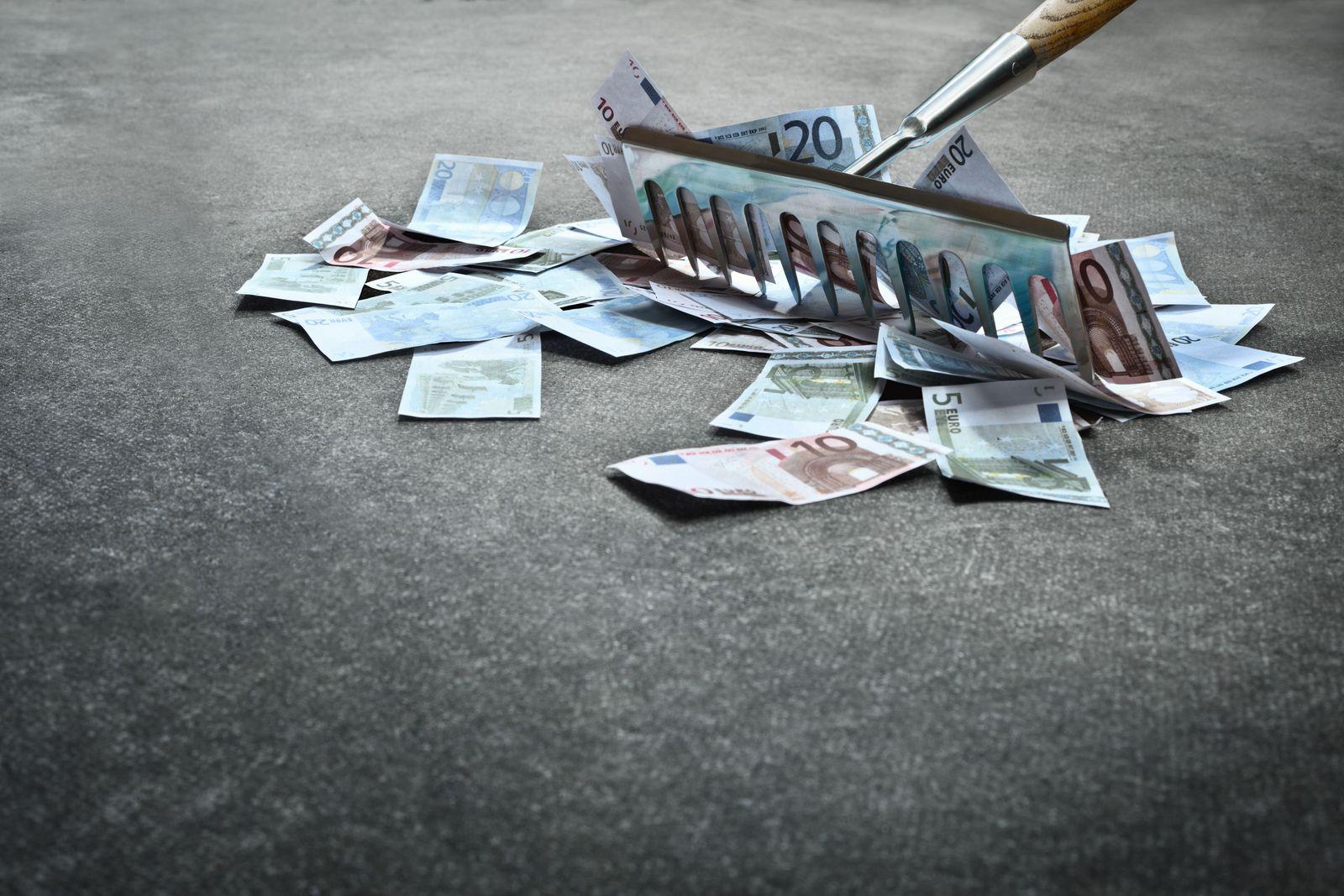 Geld / Harke / raffen / Gier