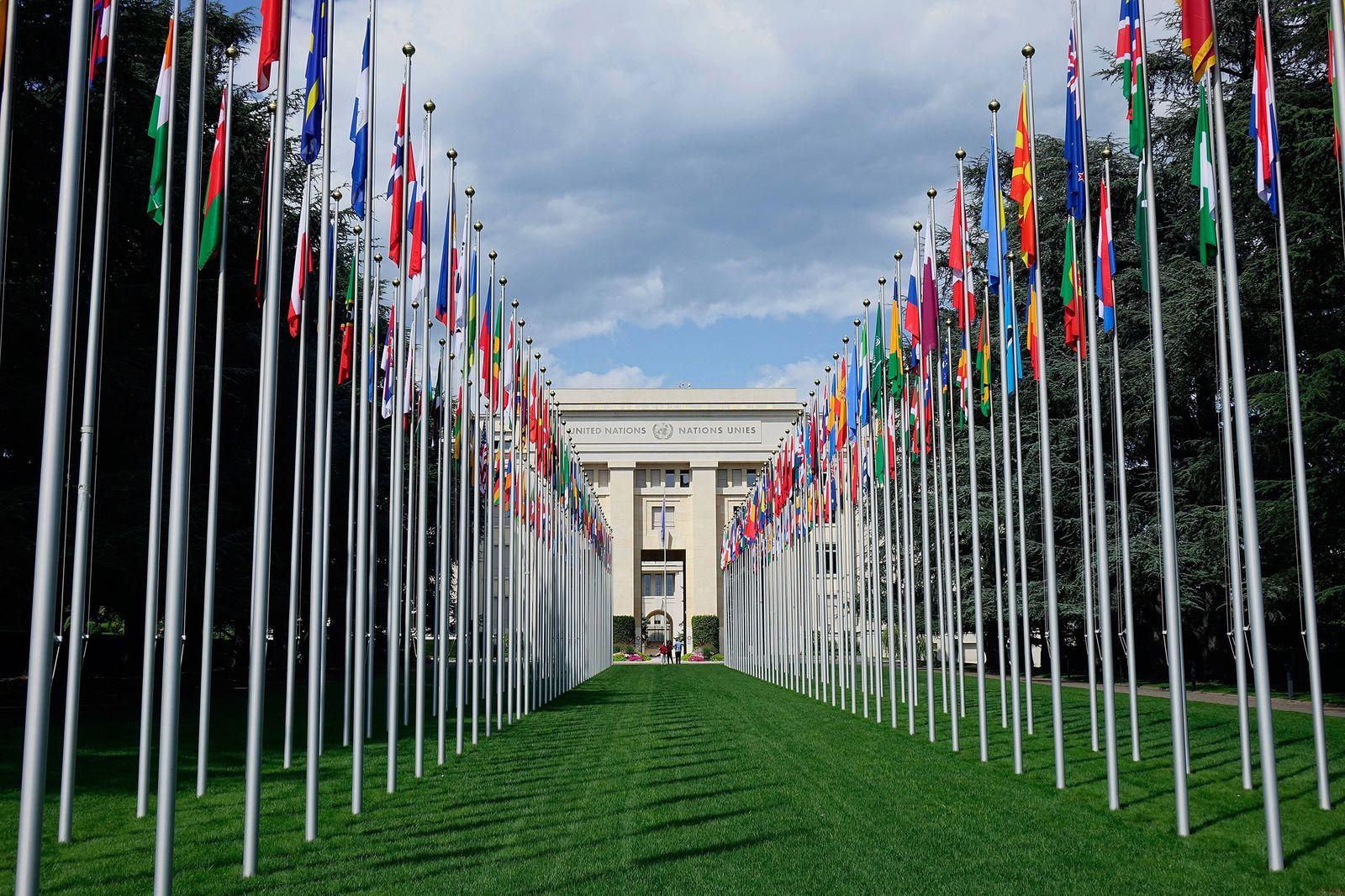 Emblem und Schriftzug der Vereinten Nationen Emblem und Schriftzug der Vereinten Nationen, 02.08.2019. Genf, Ariane-Park