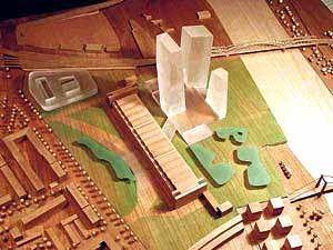 """Vogelperspektive: Auf einem älteren Entwurf von """"Planen + Bau"""" ist die Lage der neuen EZB-Zentrale gut zu erkennen"""