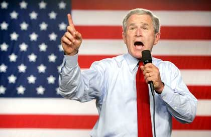 Liegt in der Gunst der Börsianer vorn: US-Präsident George W. Bush