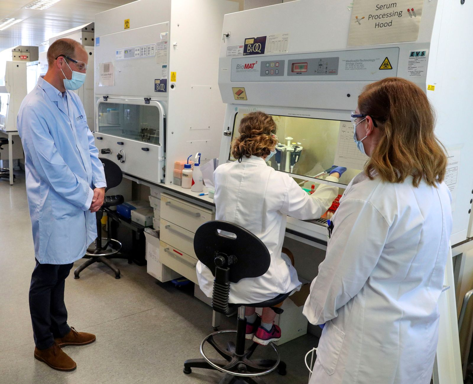 Britain's William, Duke of Cambridge, visits the Oxford Vaccine Group's facility at the Churchill Hospital, in Oxford