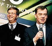 Erfolgsgeschichten: Timothy Plaut (r.) amüsierte mit Anekdoten aus seinem Managerleben an der Spitze der Investmentbank Goldman Sachs die Gästeschar