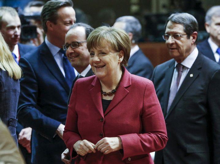 Kanzlerin Merkel am Donnerstag im Kreise der EU-Staats- und Regierungschefs