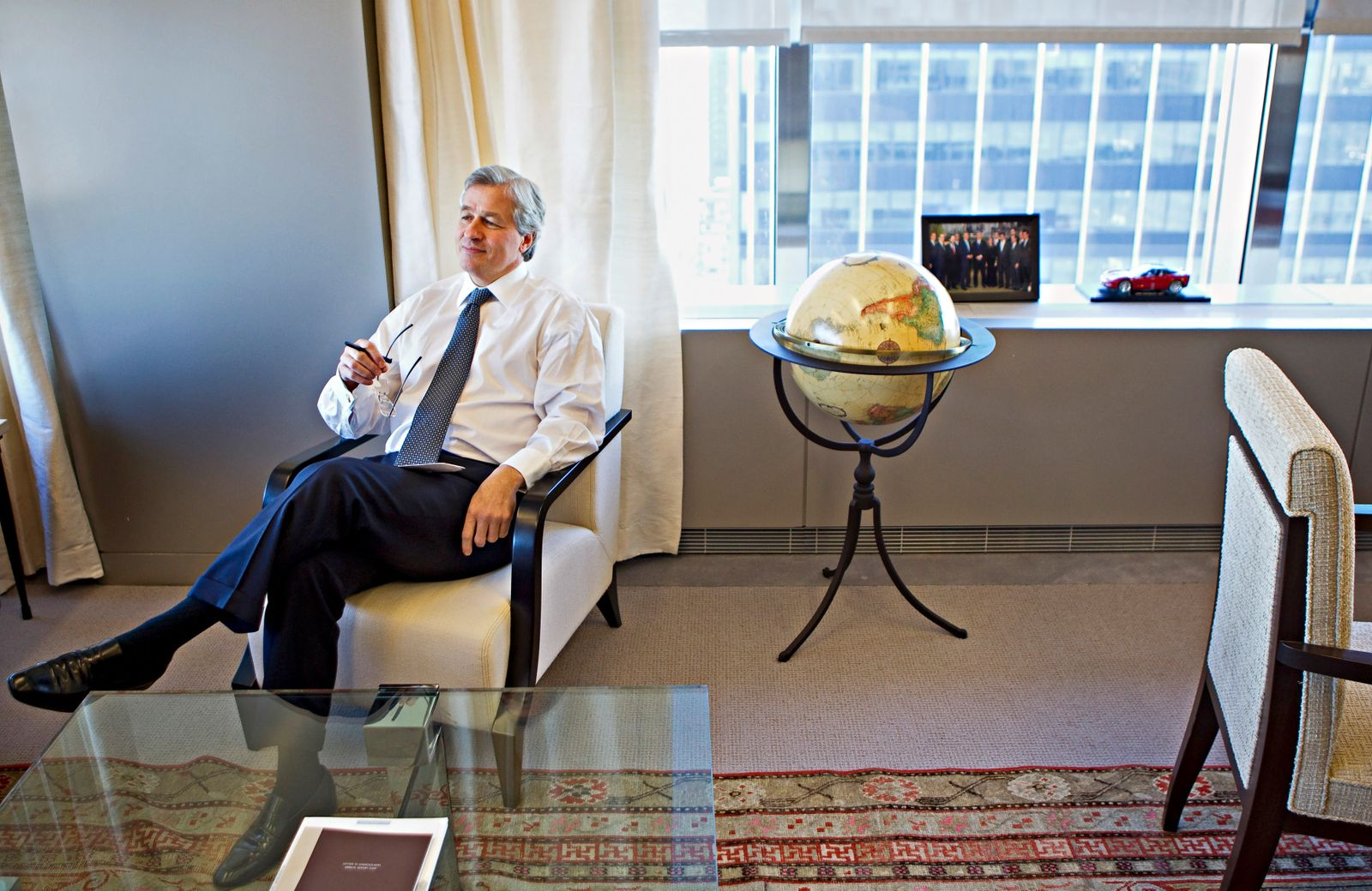 Jamie Dimon, CEO and chairman of JPMorgan Chase & Co., answers a question in his office in New York