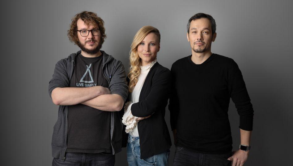 Die drei Gründer von TLGG: Christoph Bornschein (l.), Fränzi Kühne und Boontham Temaismithi