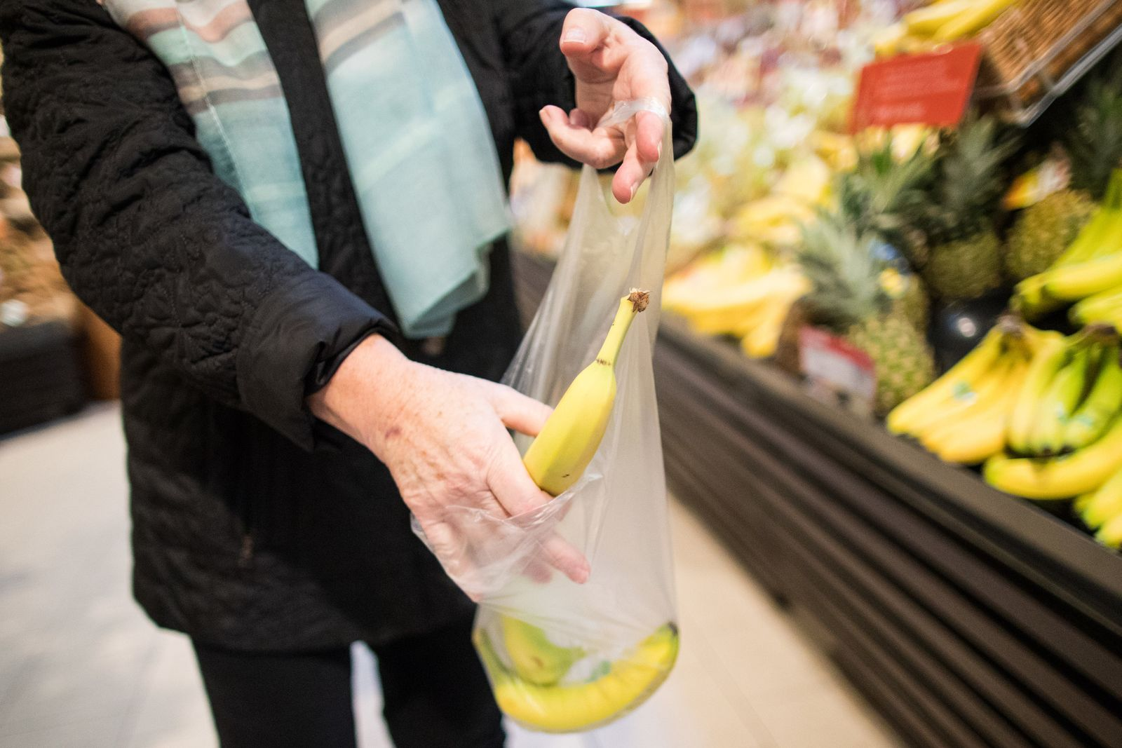 Plastiktüten in Supermärkten