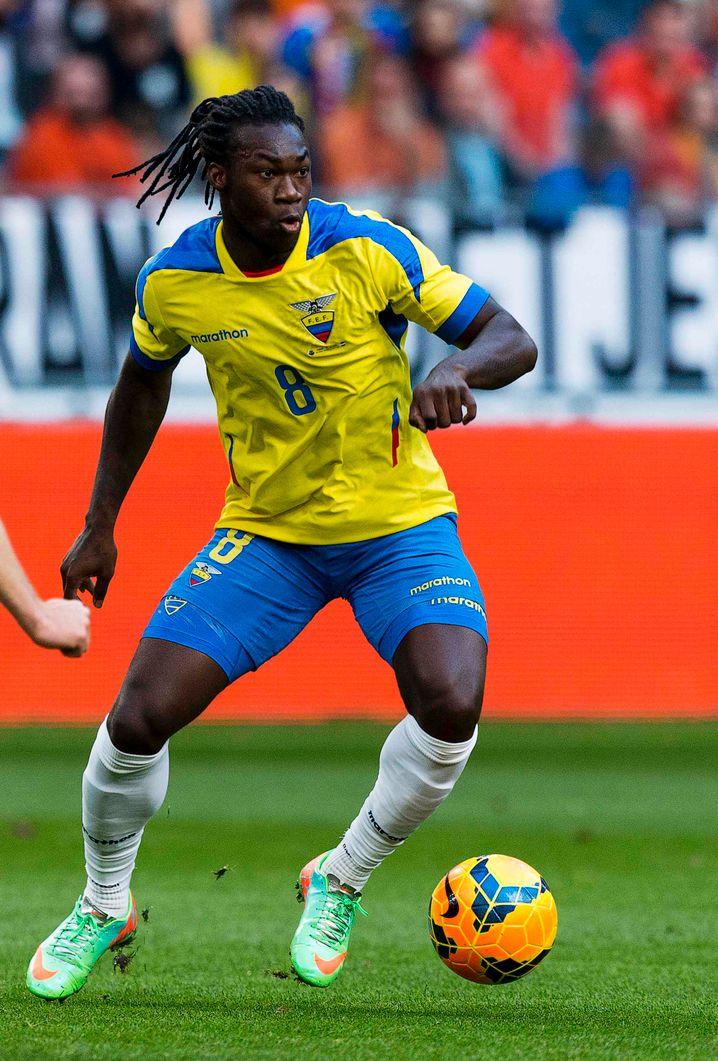 Patriotischer Auftritt: Ecuadors Spieler Felipe Caicedo