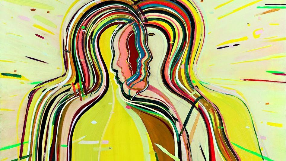 """""""Ohne Titel (Merging Kissers)"""": Kunstwerk von Jules de Balincourt, 2011, Öl auf Holz, 198,1 x 147,3 x 6,4 cm"""