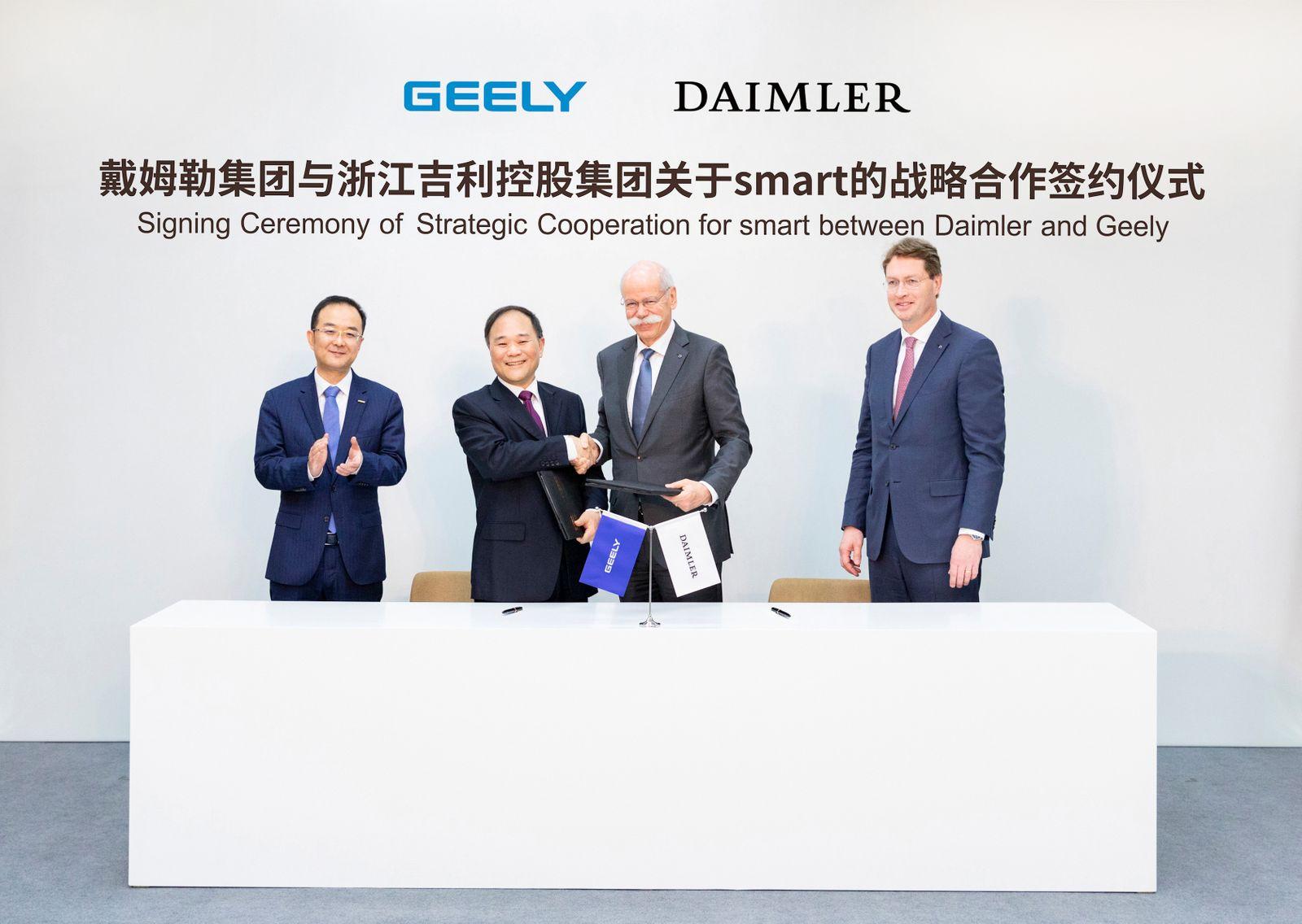 Vertragsunterzeichnung zur strategischen Kooperation für smart zwischen Daimler und Geely