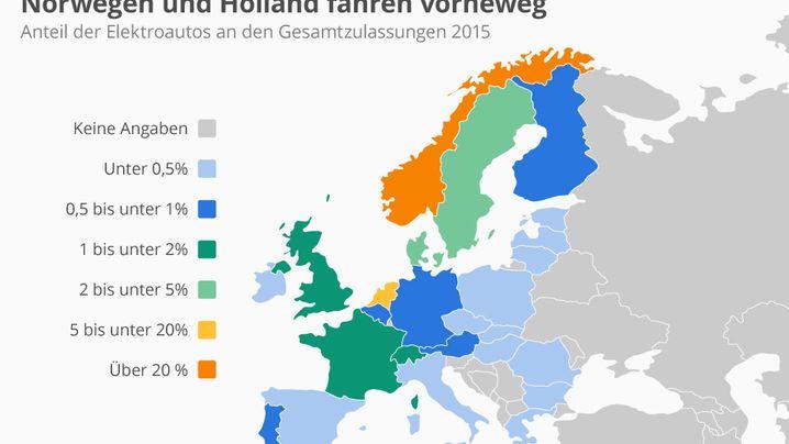 Elektroauto-Europaübersicht: Diese Karten zeigen, in welchen Ländern die Stromer Fahrt aufnehmen