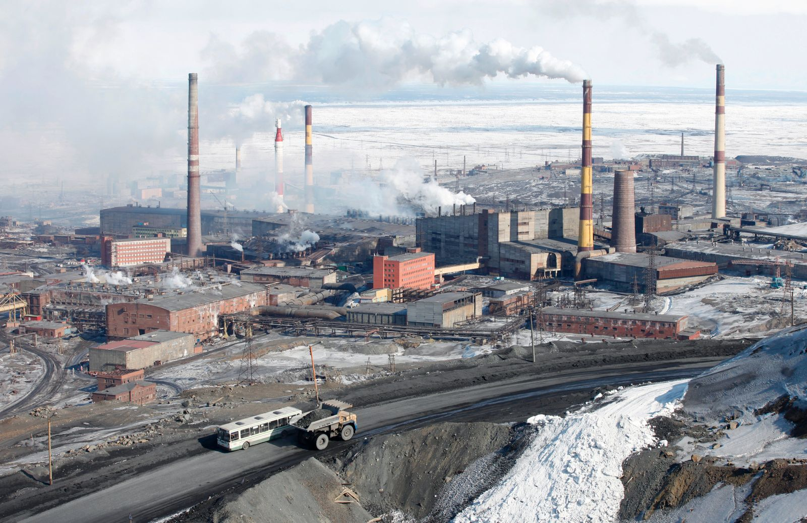 A general view of Norilsk Nickel's nickel plant in the Russia's Arctic city of Norilsk