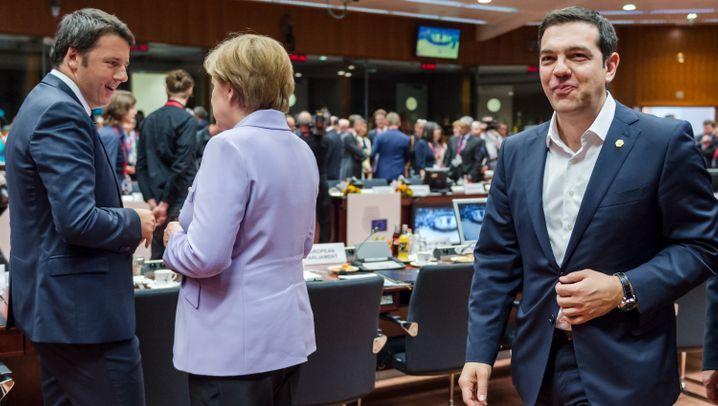 Merkel, Tsipras, Renzi auf EU-Gipfel: Die Drei von der Schwankstelle