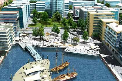 Über eine Pier gelangt der Besucher zum Museumshafen: Die Magellan-Terrassen sind am Wochenende eröffnet worden