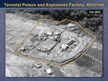 Eine Fabrik in Khurmal: Hier sollen laut Powell Giftgase und Sprengstoffe hergestellt werden.
