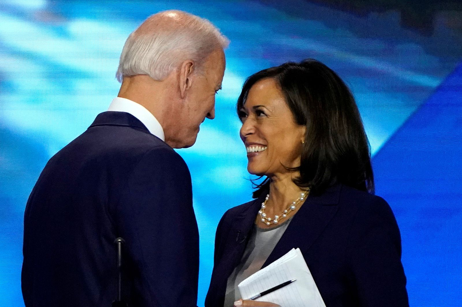 FILE PHOTO: Former Vice President Biden talks with Senator Harris after the conclusion of the 2020 Democratic U.S. presidential debate in Houston