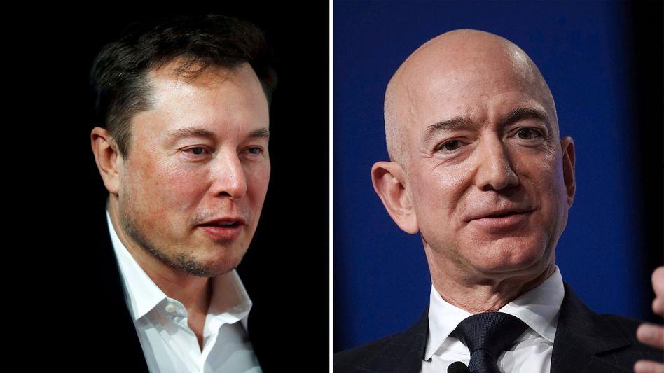 Erfolgloses Meeting 2004: Elon Musk (l.) und Jeff Bezos konkurrieren im Weltall-Geschäft