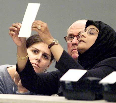 Nachzählen der Stimmen per Hand in Palm Beach County