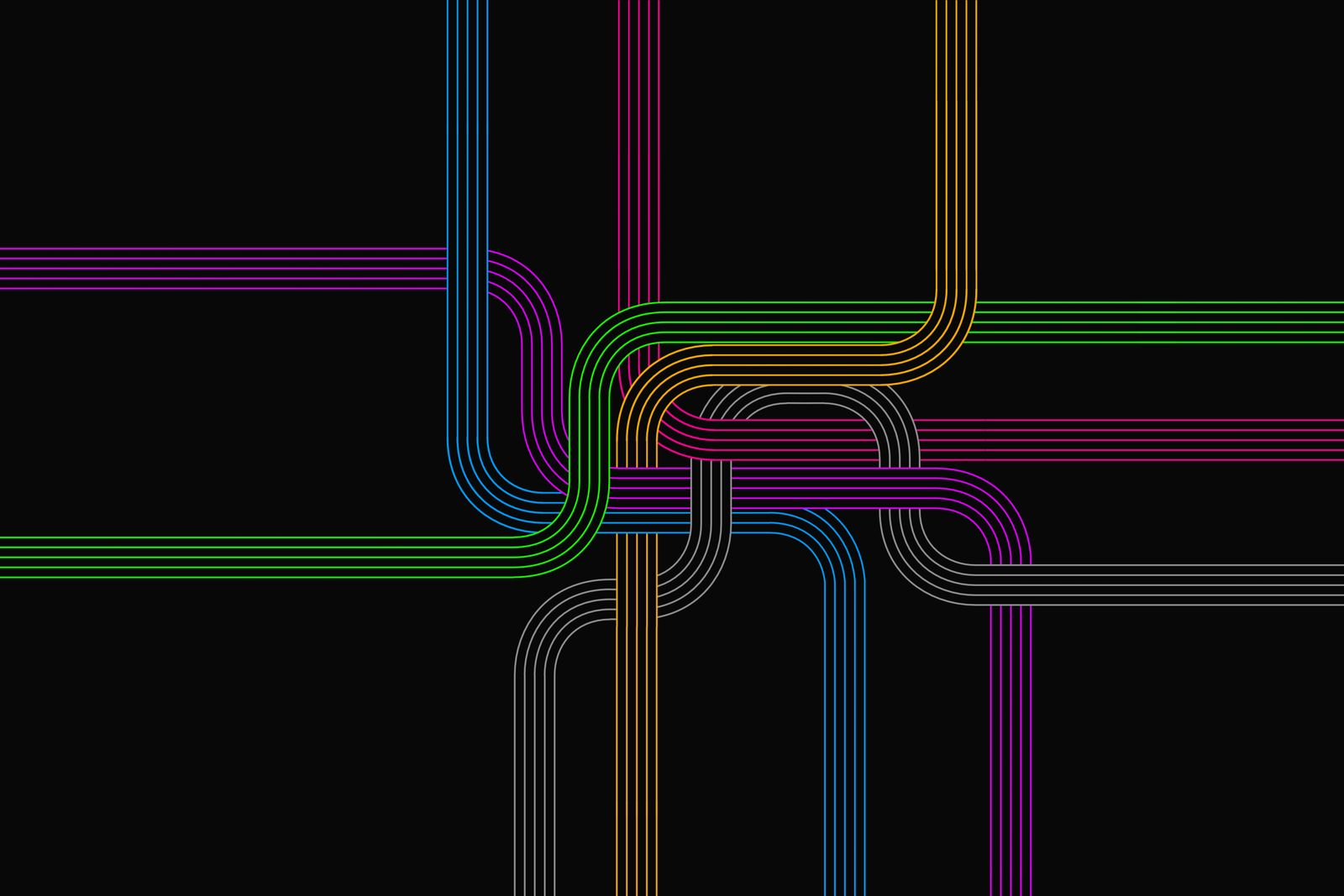 Colorful group of lines intertwined in a knot.