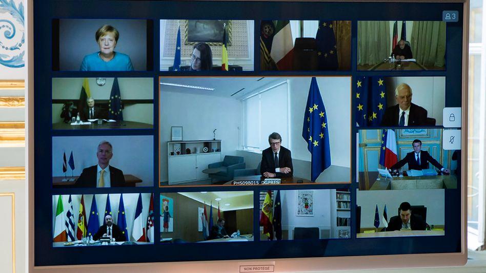 Videokonferenz europäischer Spitzenpolitiker: Beim EU-Gipfel in wenigen Tagen wird es auch um den Streit um Euro-Bonds gehen.