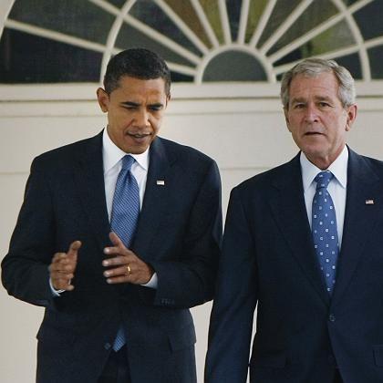 Besuch im Weißen Haus: President elect Barack Obama mit dem scheidenden Präsidenten George W. Bush