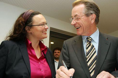 Einig in der Causa Opel: SPD-Politiker Nahles und Müntefering