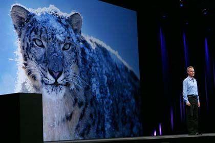 Angekündigt für September: Das Betriebssystem Snow Leopard (im Bild eine Produktpräsentation)
