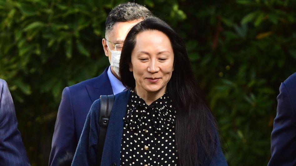 Deal für die Freiheit: Huawei-Finanzchefin Meng Wanzhou am Freitag auf dem Weg vom Hausarrest zur Gerichtsanhörung in Vancouver