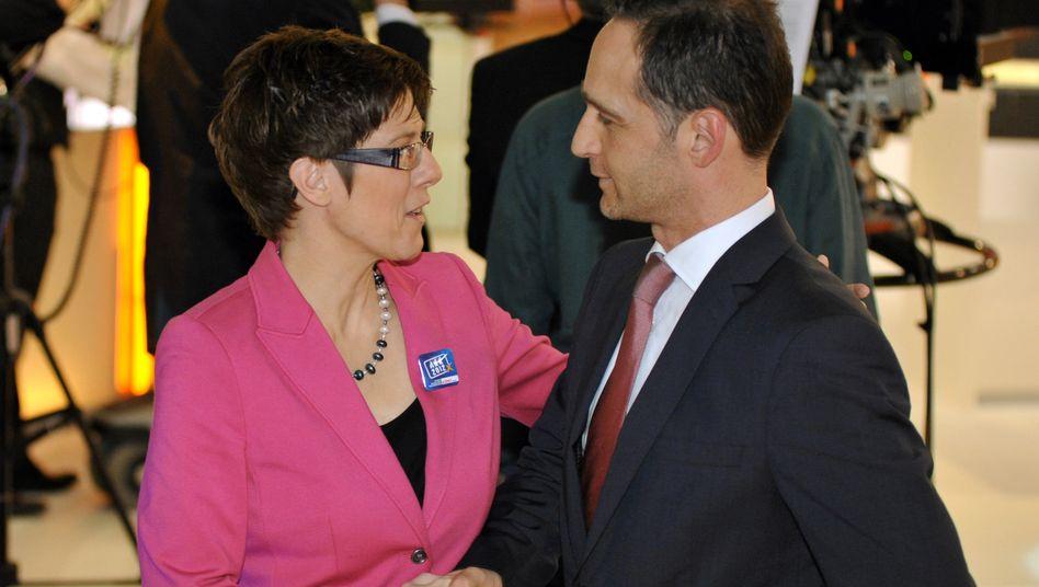 Künftige Koalitionäre: CDU-Ministerpräsidentin Annegret Kramp-Karrenbauer hatte bereits angekündigt, mit Heiko Maas und der SPD eine Koalition bilden zu wollen