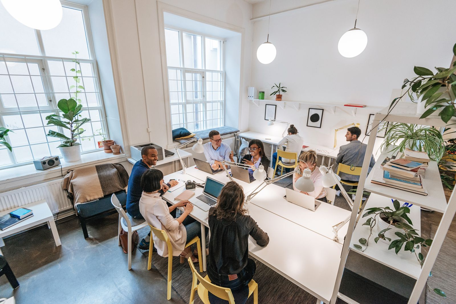 Modern business office with multi-ethnic team