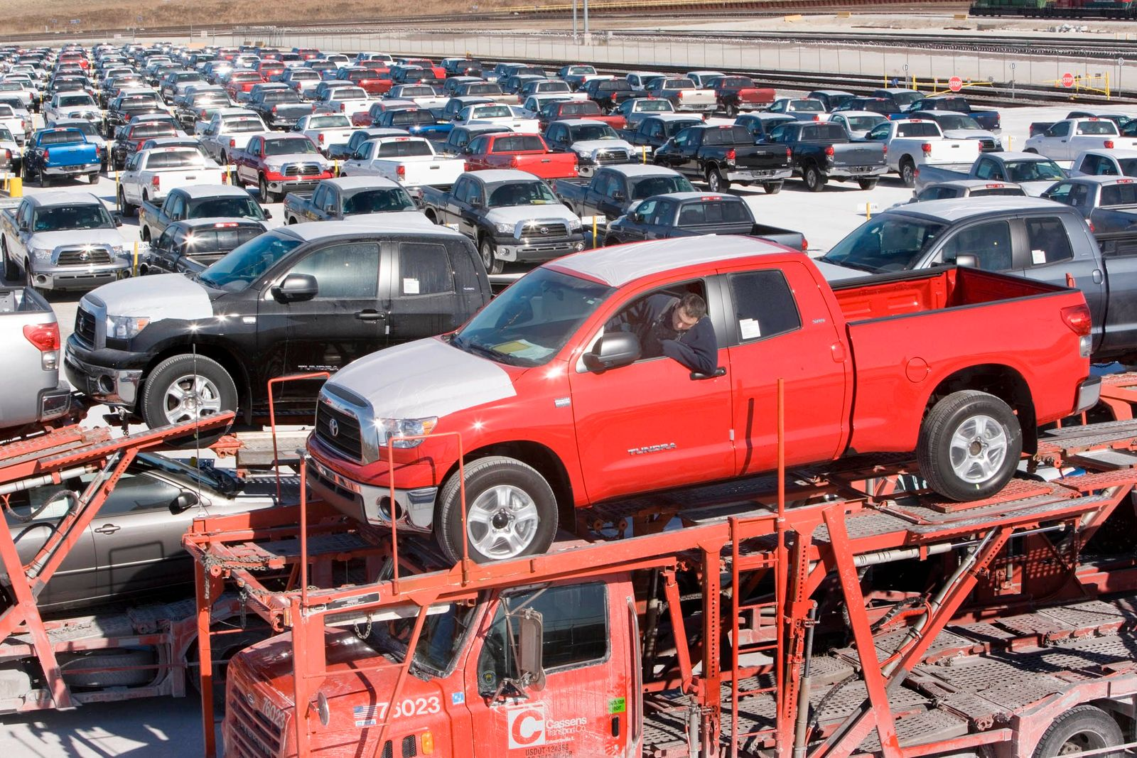 A Toyota Tundra pickup truck is loaded at storage facility in Elwood