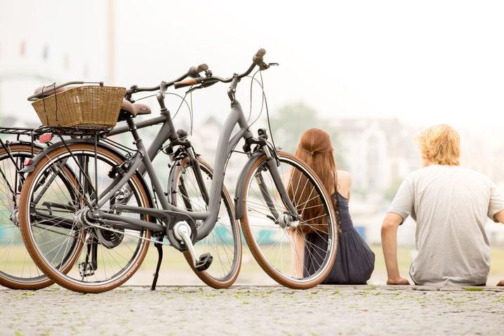Mit kleinem Körbchen: Cityräder sind genau die richtige Wahl für die kurze Fahrt von der Wohnung in den Park.