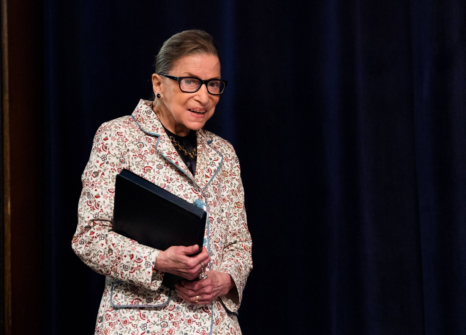 Supreme Court Associate Justice Ruth Bader Ginsburg arrives discusses the Supreme Court s recent term in a lecture to f