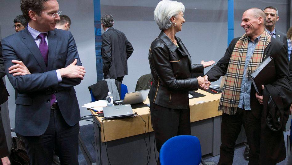 Souveränes Verhandeln ist, wenn man trotzdem lacht: Griechenlands Finanzminister Varoufakis (r.) mit IWF-Chefin Christine Lagarde und Euro-Gruppen-Chef Jeroen Dijsselbloem auf der Finanzministersitzung am Mittwoch