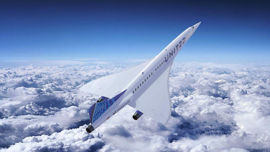 """New York - Frankfurt in vier Stunden: Die Concorde-ähnliche """"Overture"""" (hier eine Illustration) könnte ab 2029 Passagiere befördern, sagt der Hersteller Boom Supersonic"""