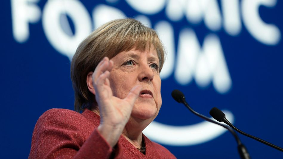 Angela Merkel sprach am Mittwoch beim Weltwirtschaftsforum m schweizerischen Davos