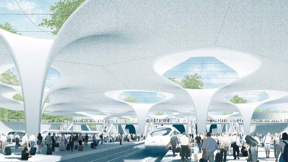 """Simulation des geplanten Tiefbahnhofs: Der Tunnel zur Neubaustrecke nach Ulm ist die Begründung für """"Stuttgart 21"""""""