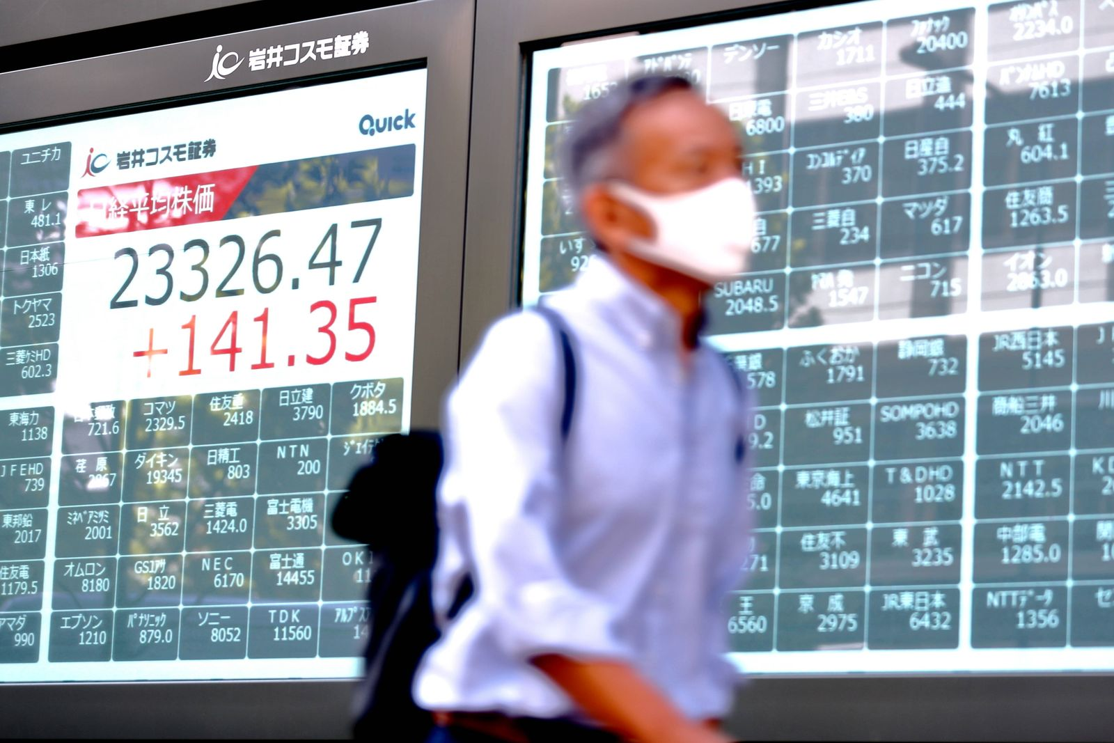 A man wearing a face mask walks past an electronic stock board showing Japan s Nikkei Stock Average at a securities fir